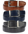 Stacy Adams 6-188 Reversible Croco & Ostrich Leather Mens Belt, Nickel Buckle