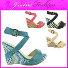 NEW LADIES SEXY PLATFORM WEDGE GORGEOUS CELEBRITY SANDALS SHOES SIZES UK 3-8
