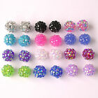 10 Shamballa Resin Rhinestone 12mm  Disco Ball Beads Choose Colour