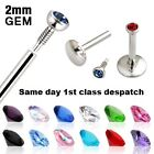 INTERNAL THREAD CRYSTAL GEM MONROE LABRET TRAGUS LIP BAR CHOOSE SIZE AND COLOUR