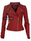 LADIES FAUX LEATHER BIKER JACKET WOMENS BOMBER PVC COAT 3 COLOURS SIZES 6-12
