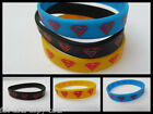 FASHION MEN'S LADIES UNISEX BLUE YELLOW SUPERMAN RUBBER WRIST BRACELET BAND UK