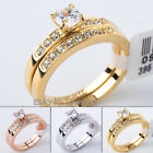 A1-R200 Fashion 0.46ct Engagement Ring Wedding Band Set 18KGP Swarovski Crystal