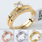 Fashion Engagement Ring Wedding Band Set 18KGP CZ Rhinestone Crystal Size 5.5-10