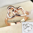 Fashion No Stone 18KGP Love Double Hearts Ring Size 5.5-10