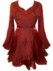 RED MEDIEVAL WITCH GOTH FAIRY TOP BLOUSE 16 18 20 22 24 26 28 30 32 34 36 L XL