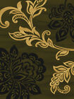 CASUAL  tan GREEN black LARGE scale FLORAL leaves LOTUS transitional AREA rug