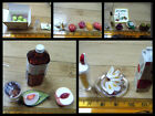 ORCARA MINIATURE DOLLS HOUSE FOOD LYCHES BANANAS APPLE JUICE FRUIT 12th SCALE UK