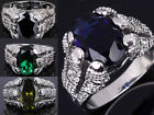 Jewelry Man's 10KT White Gold Filled Ring Size 10 and 8 Sapphire/Emerald Gift