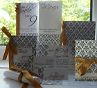 Damask Handmade Wedding Stationery for marriage - traditional invitation, ribbon