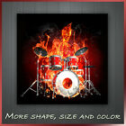 ' Skeleton Playing Drums On Fire ' Music Canvas Wall Art Deco