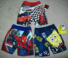 Boys Cars Spiderman SpongeBob Swim Trunks UPF 50+ UV Protection 12M 18M 24M NWT