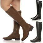 WOMENS LADIES KNEE FLAT LOW HEEL CHELSEA WIDE CALF STRETCH ZIP RIDING BOOTS SIZE