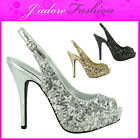 NEW LADIES SLINGBACK SEQUINE PLATFORM PEEP TOE HIGH HEEL SEXY SANDALS SIZES 3-8