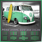 ' VW Retro Camper Green Van With Surfing Board ' Canvas Wall Art Deco