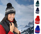 Result Mens Ladies Fair Isles Knitted Hat Warm Winter Fleece Knitted Beanie