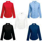 New Fruit of the Loom Womens Fitted Poplin Long Sleeve Shirt 5 Colours XS-3XL