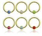 New 14ct 14k Gold Plated Captive Bead Ring BCR with Colour Gem 1.2mm x 10mm UK