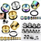 Pair Stainless Steel Rubber Tunnels Ear Expander Stretcher Plug Stud Rings Punk