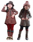 Girls Baby Stripe Top Dress+Bowknot Leggings 2PCS Sets Outfit Costume Ages 2-7Y