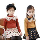 Girls Kids Long Sleeve Polka Dots Toddler Dress Princess 2-7Y Party Clothing