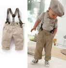 NWT Boys Bibs Pants Toddler Kids Overalls 6M-5Y Top Shirt Outfit 2Pcs Suit Set