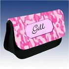 Personalised Name Camouflage Pink Blue Case Make Up Pencil Bag Gift Birthday