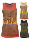 Womens Wild Print Casual Vest Top In Black Coral Peach Ladies Brand New Sz 8-14