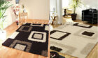 LARGE THICK CHOCOLATE BROWN BEIGE CREAM SQUARES CUBES BLOCKS SHAGGY RUG FREE P&P
