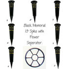 Black Memorial Spike with Gold Lettering Cemetery Pot Grave Tribute