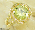 Huge Fire Lime Green Sapphire 925 Sterling Silver & GP18K Gold Ring sz 8 GIFT