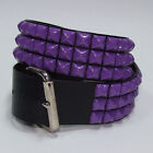 Funk Plus Gothic Industrial Goth Punk Purple Studded Black Genuine Leather Belt