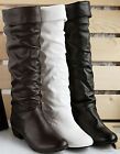 Women's Faux Leather Leisure Low Heel Knee High Boots Sexy Shoes AU All Sz Y020