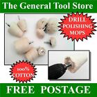 COTTON DRILL MOUNTED POLISHING MOPS OR WHEELS . CHOICE OF SHAPE & SIZE
