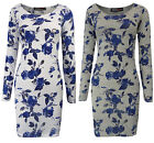 Womens Bodycon Mini Dress Top Grey White Blue Floral Print Ladies Brand New 8-14