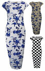 Womens Blue Floral Bodycon Midi Dress Short Sleeve Grey White Ladies New Sz 8-14