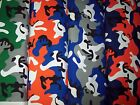 "Colorful camo camouflage TWILL HEAVIER COTTON/POLY fabric 1 yd long x 60"" wide"