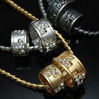 Double Rings Cross Pendant Necklace 18k Gold & Silver Plated Mens Couple Jewelry