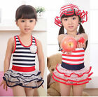 Girls Kids Sailor Swimwear Swimsuit Bathers Bikini Tankini 2-7Y Clothing 2Colors