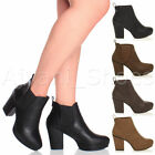 WOMENS LADIES HIGH HEEL BLOCK PLATFORM ANKLE LOW CHELSEA BOOTS BOOTIES SIZE
