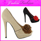 NEW LADIES FLOWER DETAIL STILETTO  PEEP TOE HIGH HEEL COURT SHOES UK 3-8