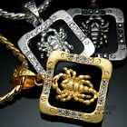 Square Scorpion Cubic Pendant Necklace 18k Gold & Silver Plated Mens Jewelry