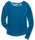 NEW Gray Aeropostale Lace Trim Boat Neck Long Sleeve Sweater Tee Shirt Sz XXL
