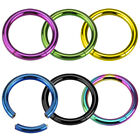 New Anodised Titanium Segment Ring Nose Hoop Tragus Labret Eyebrow Stud Piercing
