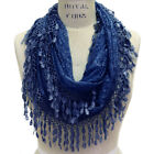 Scarfand's Elegant  Delicate Lace Infinity Scarf with Tear-drop Fringes