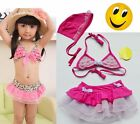 Girls Leopard 2-8Y Swimsuit Swimwear Bathing Costume Tankini Pink Bowknot Bikini
