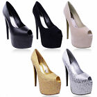 LADIES WOMENS BLACK PLATFORM PARTY HIGH HEELS STILETTO PEEP TOE COURT SHOES SIZE