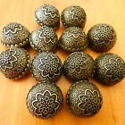 3x METAL CRESTED DOME BUTTONS antique gold or silver colour 15,19, 20, 22 & 25mm