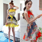 Summer Women's Lady Fashion Halter Sleeveless Pleated Beach Floral Strappy Dress