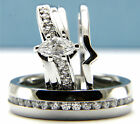0.80CT Clear Solitaire CZ Engagement Brass Wedding Stainless Steel Ring Band Set